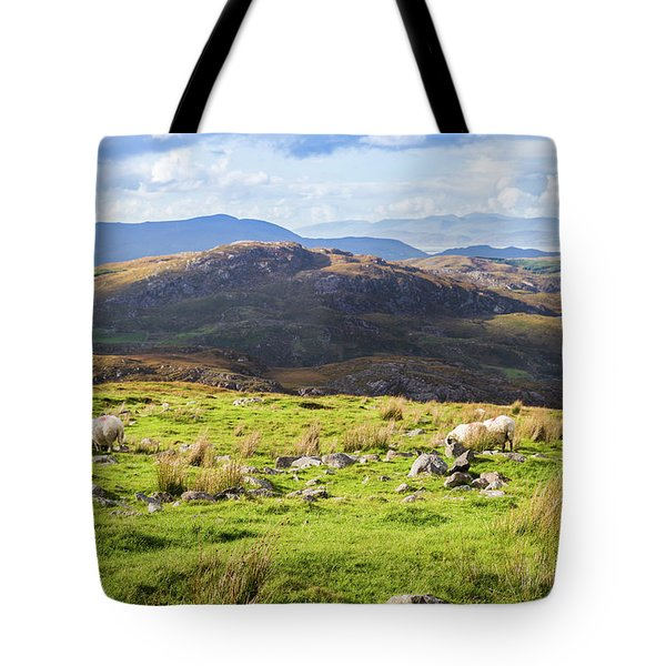 Tote Bag featuring the photograph Colourful Undulating Irish Landscape In Kerry With Grazing Sheep by Semmick Photo