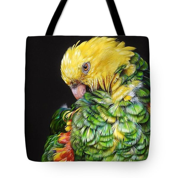 Colours Of The Jungle - Yellow-headed Amazon Tote Bag by Elena Kolotusha