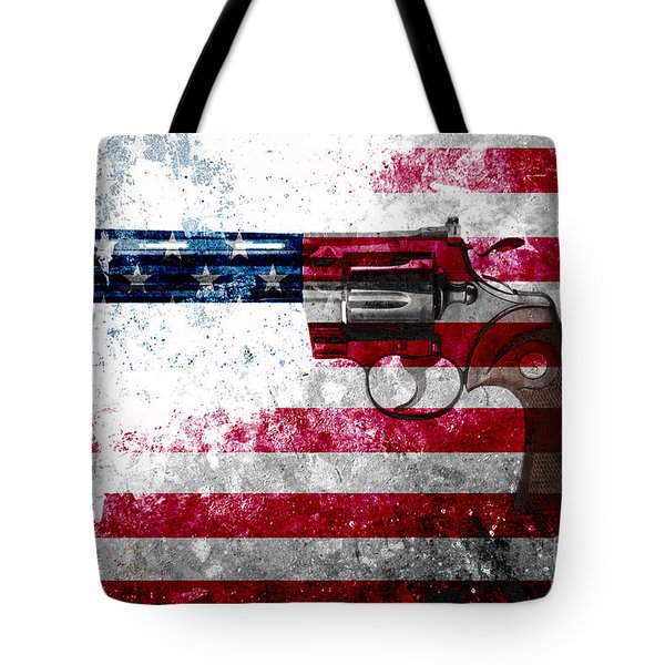 Colt Python 357 Mag On American Flag Tote Bag by M L C