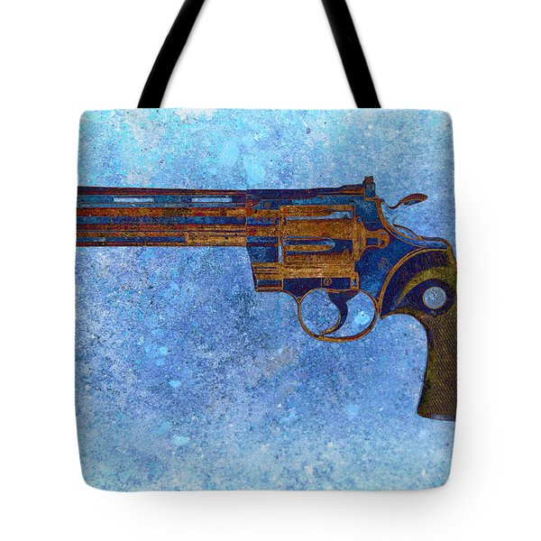 Colt Python 357 Mag On Blue Background. Tote Bag