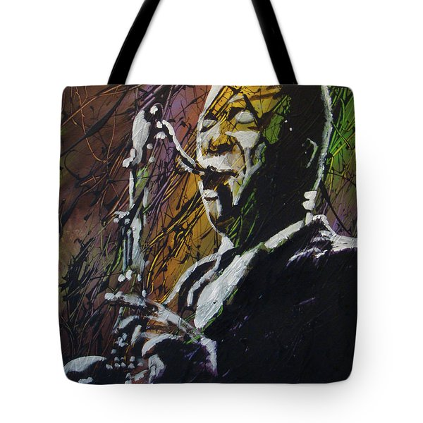Tote Bag featuring the painting Coltrane by Stuart Engel