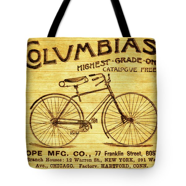 Tote Bag featuring the mixed media Columbia Bicycle Vintage Poster On Wood by Dan Sproul