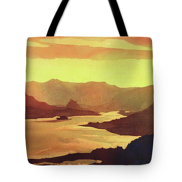 Tote Bag featuring the painting Columbia Gorge Scenery by Ryan Fox