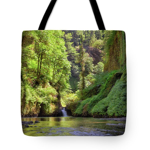 Columbia Gorge Waterfall In Summer Tote Bag