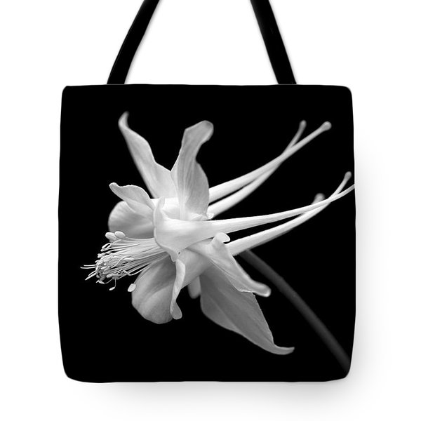 Columbine Flower Portrait Black And White Tote Bag