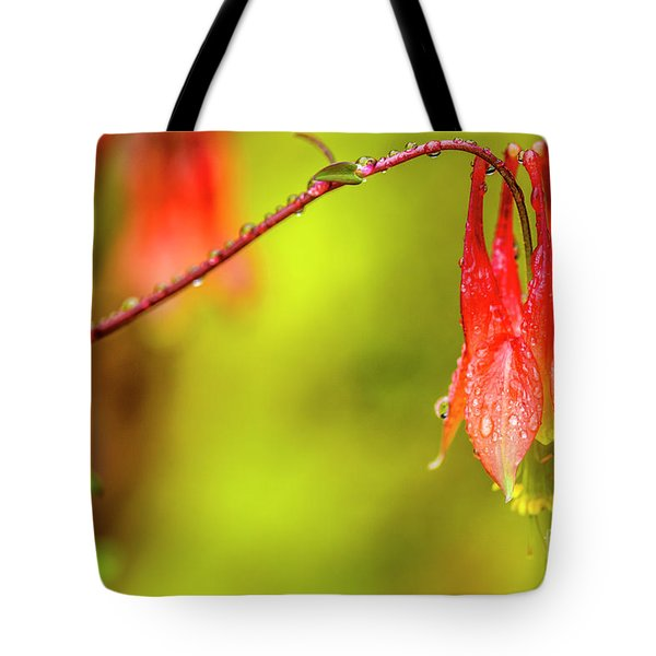 Columbine In The Rain Tote Bag