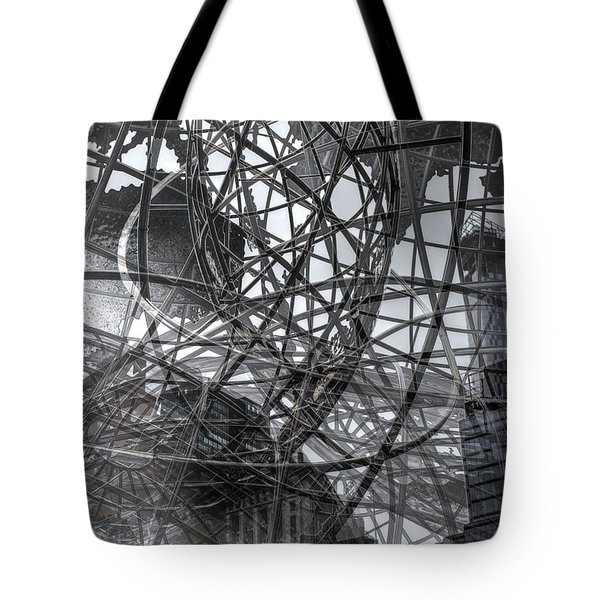 Tote Bag featuring the photograph New York - Columbus Circle Globe -  Collage by Dave Beckerman