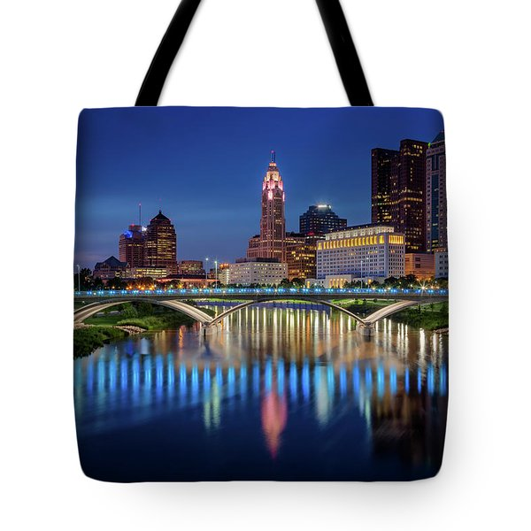 Tote Bag featuring the photograph Columbus Ohio Skyline At Night by Adam Romanowicz