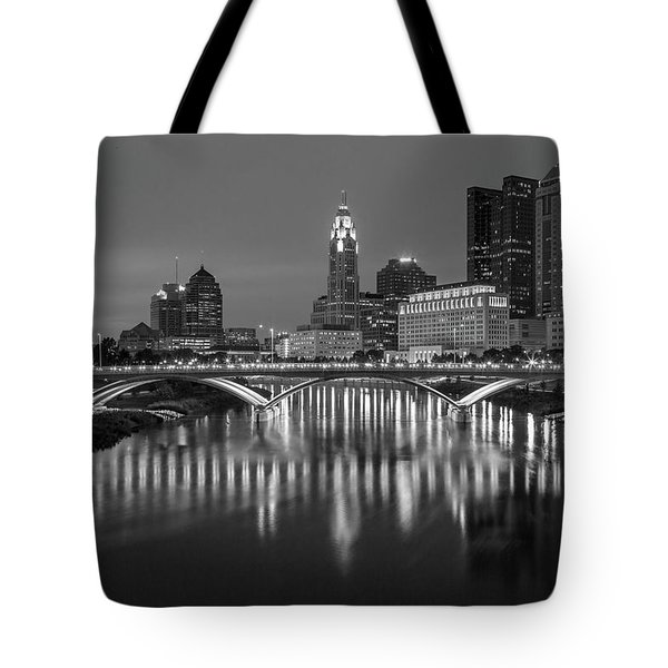 Tote Bag featuring the photograph Columbus Ohio Skyline At Night Black And White by Adam Romanowicz