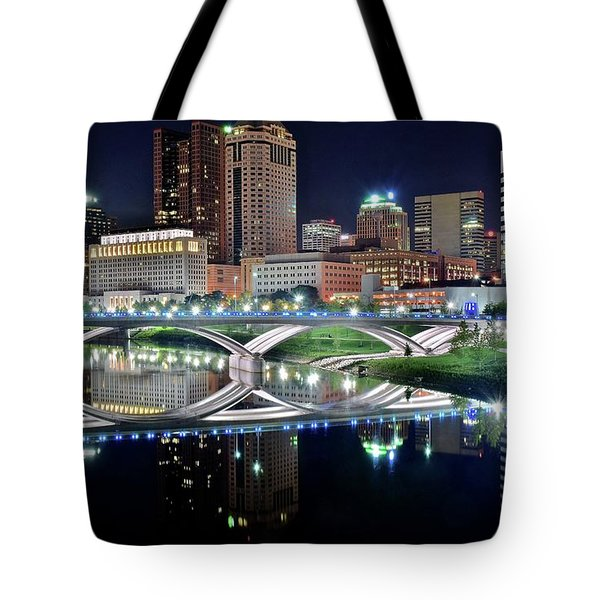 Columbus Over The Scioto Tote Bag by Frozen in Time Fine Art Photography