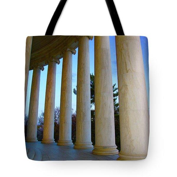Columns At Jefferson Tote Bag by Megan Cohen