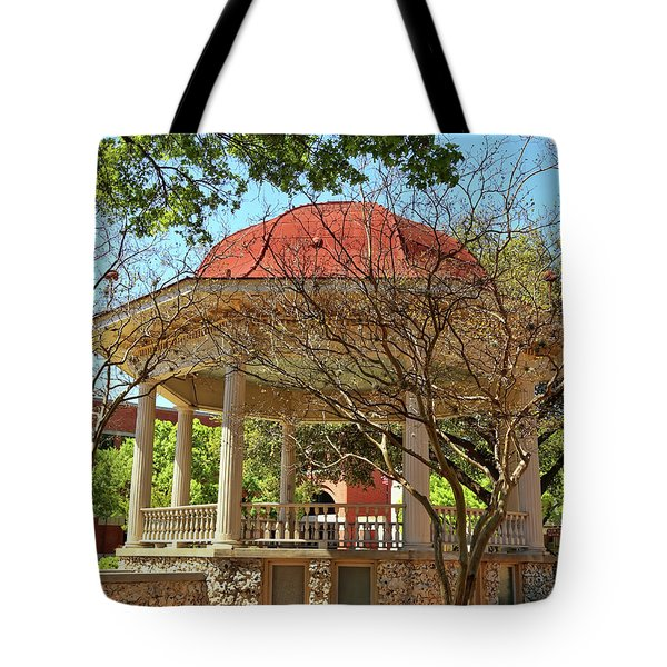 Comal County Gazebo In Main Plaza Tote Bag by Judy Vincent