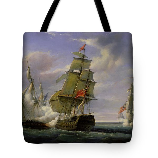 Combat Between The French Frigate La Canonniere And The English Vessel The Tremendous Tote Bag