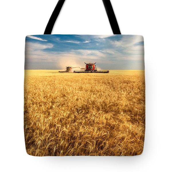 Combines Cutting Wheat Tote Bag