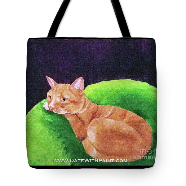 Tote Bag featuring the painting Comfy Kitty_dwp_may 2017 by Ania M Milo