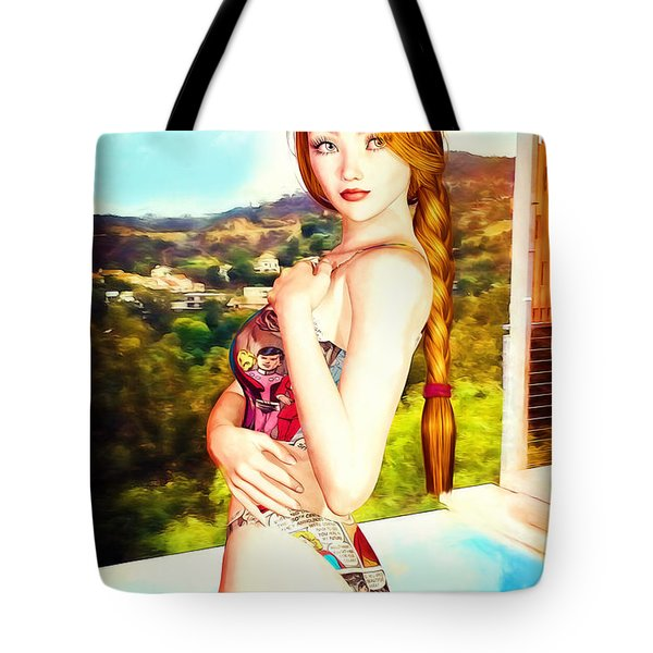 Comic Book Swimsuit Pinup In The Hollywood Hills Tote Bag