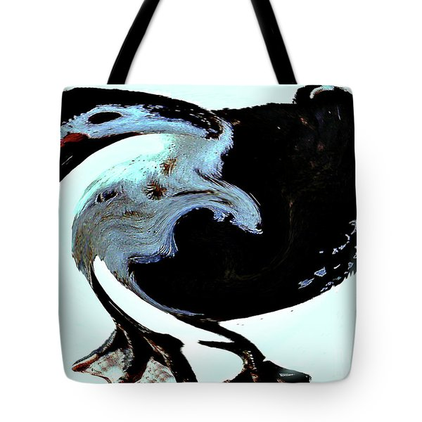 Tote Bag featuring the digital art Comical Psychedelic Duck by Merton Allen