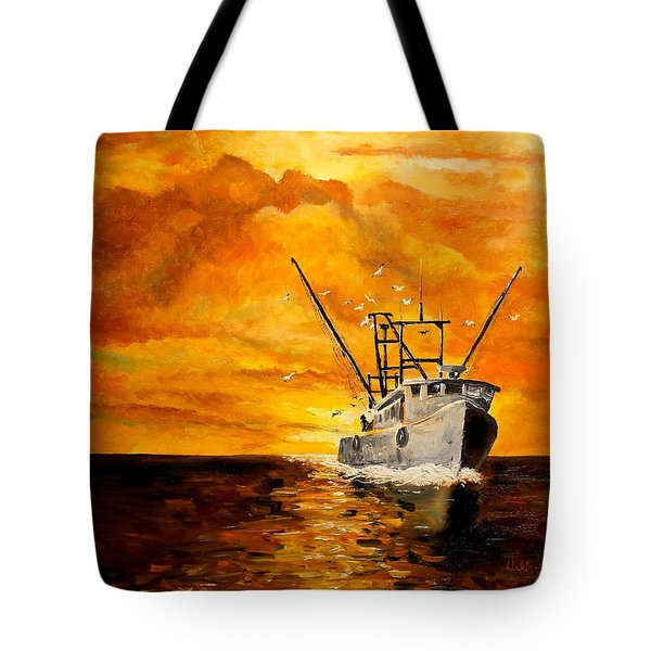 Tote Bag featuring the painting Coming Home by Alan Lakin