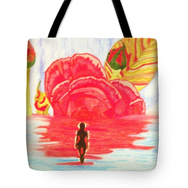 Tote Bag featuring the painting Coming Out Of One World Into Another by Connie Valasco
