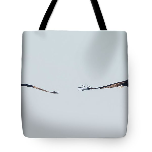 Tote Bag featuring the photograph Coming Right At You - Two Bald Eagles by Ricky L Jones