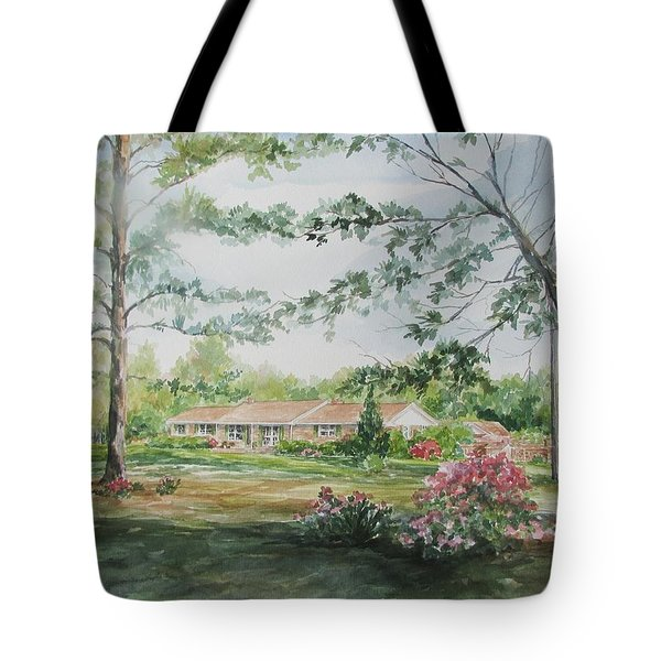 Tote Bag featuring the painting Commissioned Home Portrait by Gloria Turner
