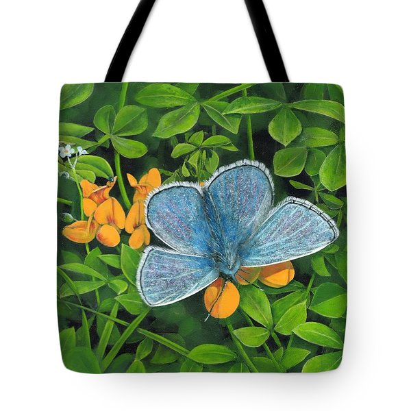 Common Blue On Bird's-foot Trefoil Tote Bag