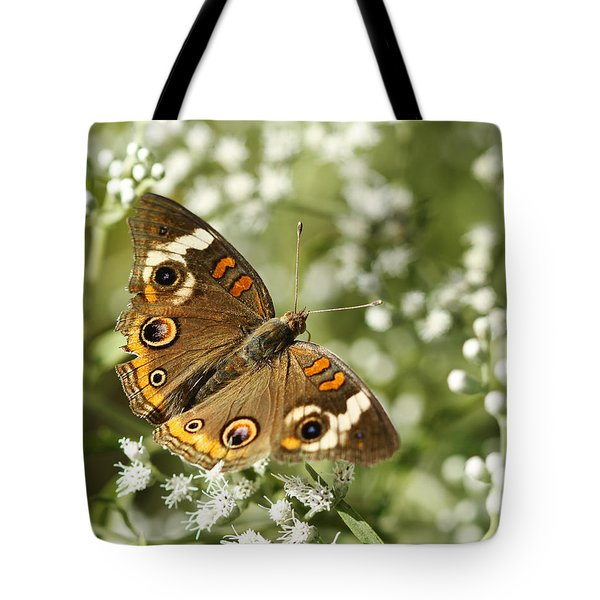Common Buckeye Butterfly On White Thoroughwort Wildflowers Tote Bag