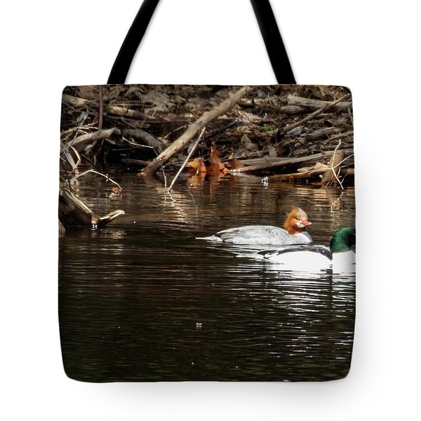 Tote Bag featuring the photograph Common Mergansers by Betty Pauwels