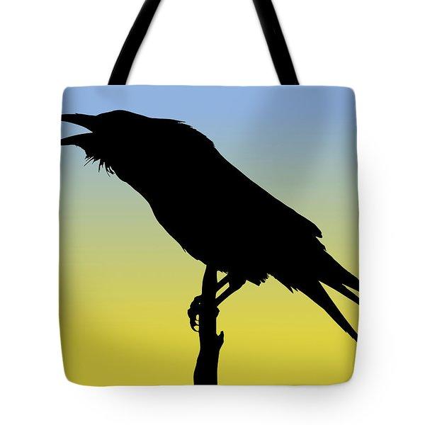 Common Raven Silhouette At Sunrise Tote Bag