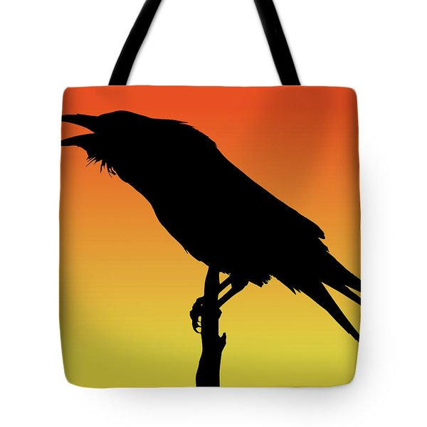 Common Raven Silhouette At Sunset Tote Bag