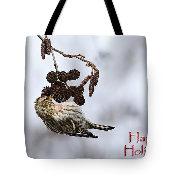 Common Redpoll Christmas Card Tote Bag by Gary Hall