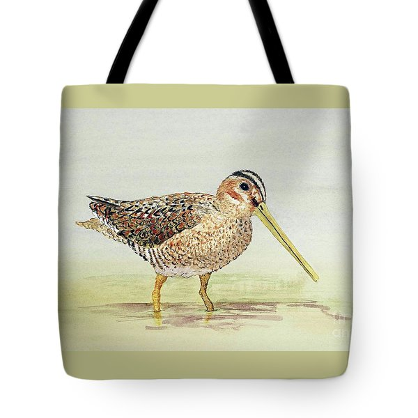 Tote Bag featuring the painting Common Snipe Wading by Thom Glace