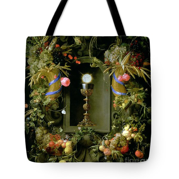 Communion Cup And Host Encircled With A Garland Of Fruit Tote Bag