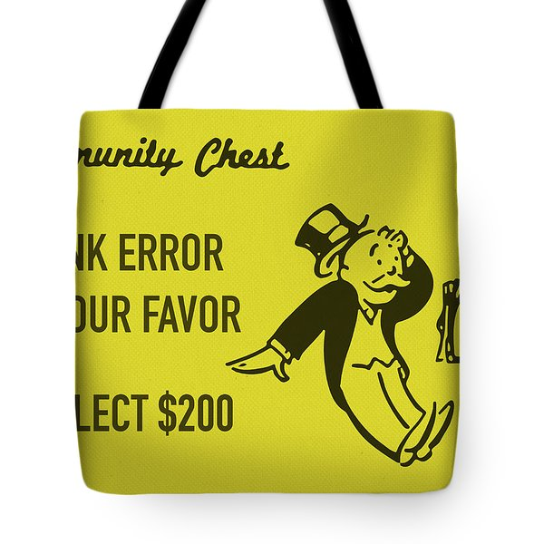 Community Chest Vintage Monopoly Board Game Bank Error In Your Favor Tote Bag