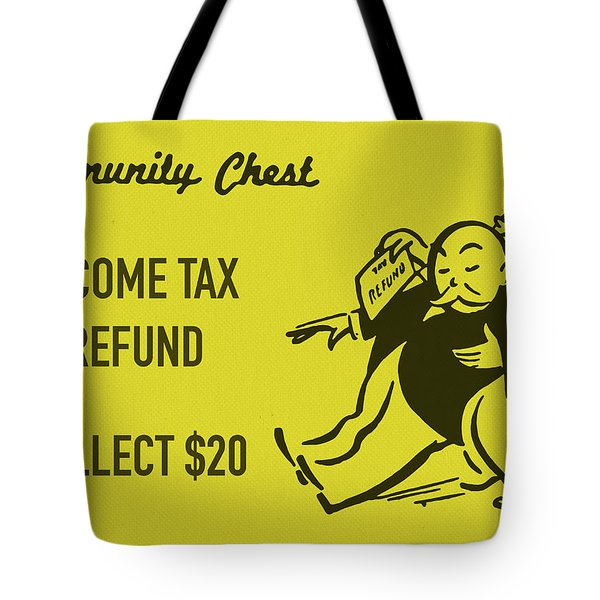 Community Chest Vintage Monopoly Board Game Income Tax Refund Tote Bag