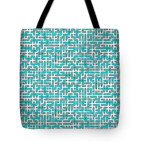 Complex Maze In Green And White Colors Tote Bag
