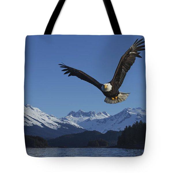 Composite  A Bald Eagle Soars Tote Bag