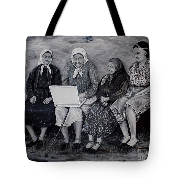 Tote Bag featuring the painting Computer Class by Judy Kirouac