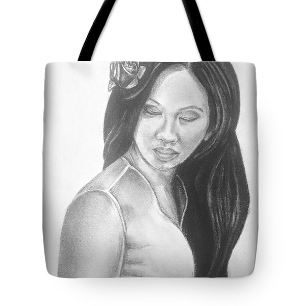 Long Hair Asian Lady With Rose In Sorrow Charcoal Drawing  Tote Bag