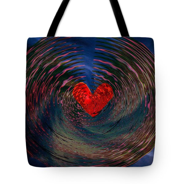 Tote Bag featuring the digital art Concentric Love by Linda Sannuti