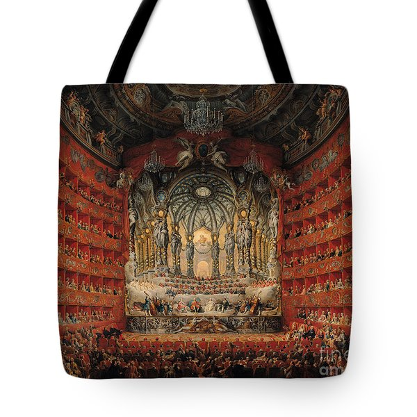 Concert Given By Cardinal De La Rochefoucauld At The Argentina Theatre In Rome Tote Bag by Giovanni Paolo Pannini or Panini