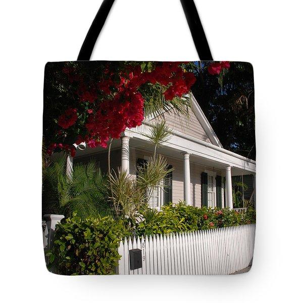 Conch House In Key West Tote Bag by Susanne Van Hulst