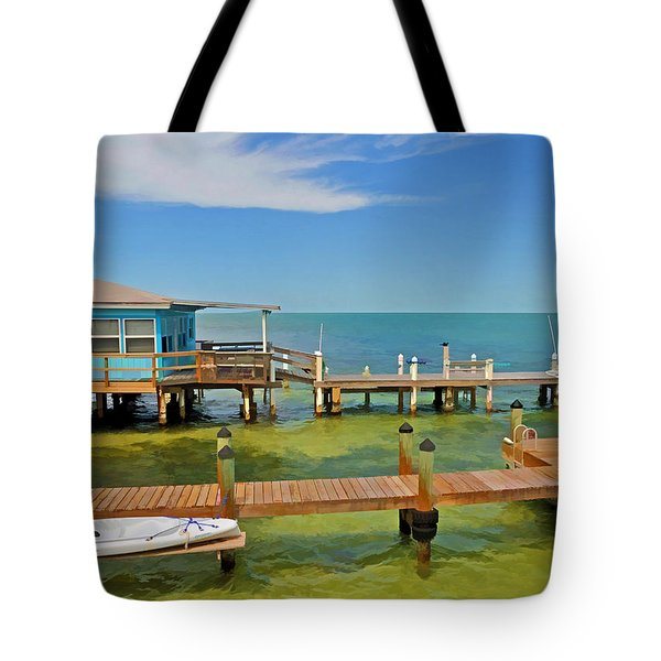 Conch Key Blue Cottage 3 Tote Bag
