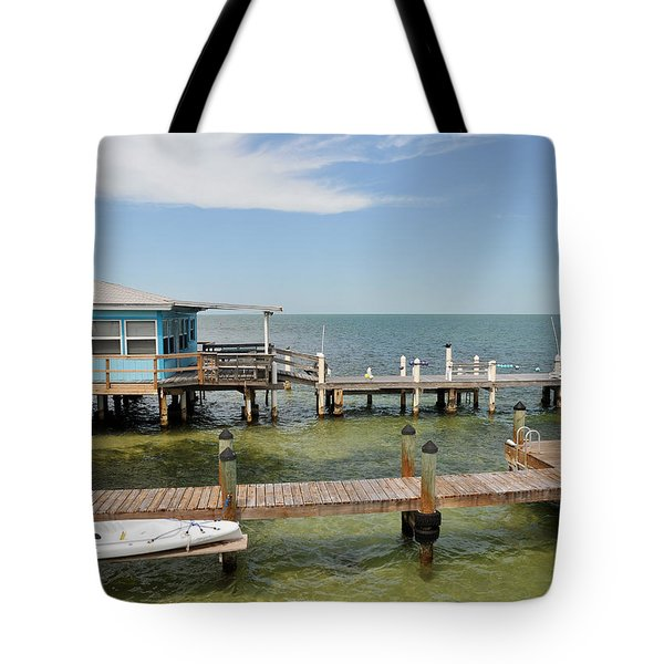 Conch Key Blue Cottage Tote Bag