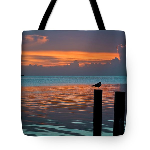 Conch Key Sunset Bird On Piling Tote Bag