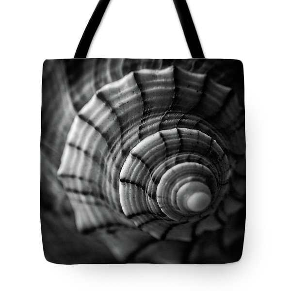 Conch Shell In Black And White Tote Bag