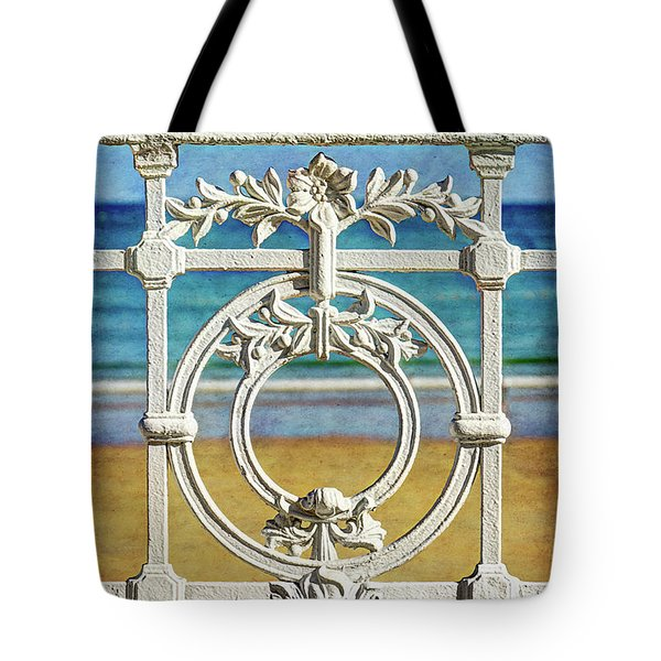 Concha Bay Railing In San Sebastian Tote Bag