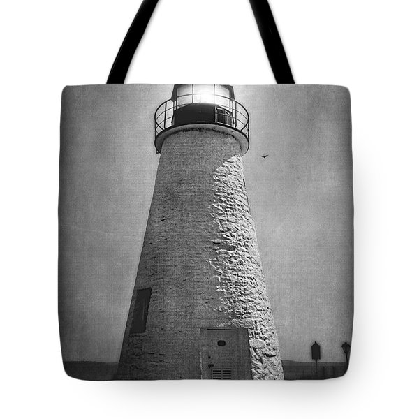 Tote Bag featuring the photograph Concord Point Lighthouse In Black And White by Trina  Ansel