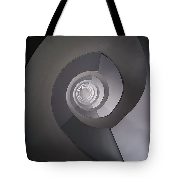 Tote Bag featuring the photograph Concrete Abstract Spiral Staircase by Jaroslaw Blaminsky