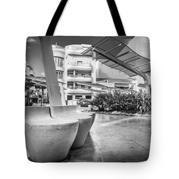 Tote Bag featuring the photograph Concrete Seats. by Gary Gillette